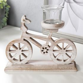"""Подсвечник дерево на 1 свечу  """"Велосипед"""" беж 17х20х7 см"""