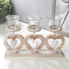 "Wood candle holder for 3 candles ""Three hearts"" beige 15,5х30х7,5 cm"