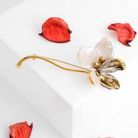 """Брошь """"Жемчуг"""" цветок, цвет белый в чернёном золоте"""