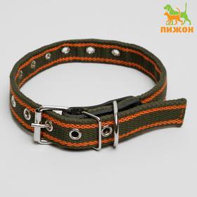 Ошейник брезентовый щенячий двухслойный, 54 х 2,5 см, ОШ до 45 см, хаки/оранжевый