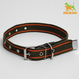 Ошейник брезентовый щенячий однослойный, 67 х 3 см, ОШ до 55 см, хаки/оранжевый