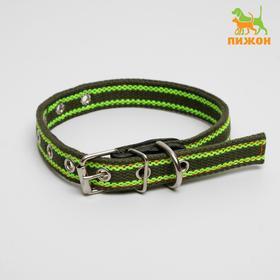 Ошейник брезентовый щенячий двухслойный, 50 х 2 см, ОШ до 35 см, хаки/зелёный