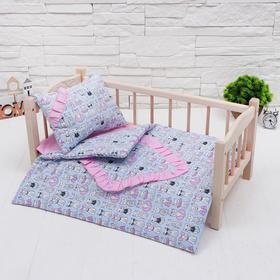"""Кукольное постельное""""Котята на голубом""""простынь,одеяло,46*36,подушка 23*17"""