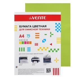 Бумага цветная А4, 50 листов, deVENTE, 75 г/м², неоновый зелёный, в пакете - фото 7369696