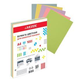 Бумага цветная А4, 100 листов, deVENTE, 5 цветов, 80г/м², пастельные цвета, в пакете