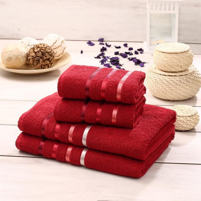 Комплект махровых полотенец Bale 50х80 см - 2 шт, 70х140 - 2 шт, цвет красный - фото 7929788