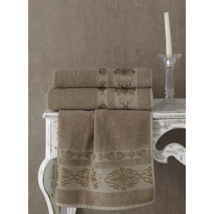 Полотенце Rebeka, размер 100x150 см, цвет кофейный - фото 7929803
