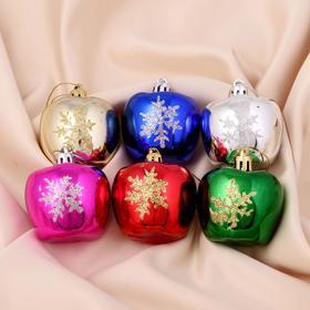 "Decoration of Christmas ""Bullseye with snowflake"" (set 6 PCs) 5x4 cm, mix"
