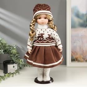 """Кукла коллекционная керамика """"Малышка Таня в свитере с оленями"""" 45 см"""