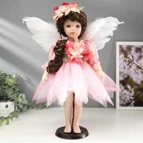 """Кукла коллекционная керамика """"Малышка Ангел в бело-розовом платье в горошек"""" 40 см"""