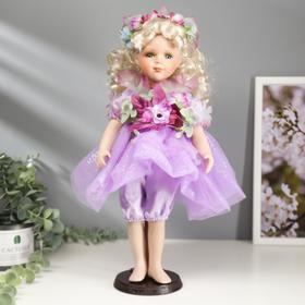 """Кукла коллекционная керамика """"Малышка Феона в сиреневом платье с цветами"""" 40 см"""