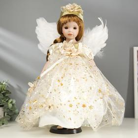 """Collectible ceramic doll """"Baby angel in white dress with stars"""" 40 cm"""