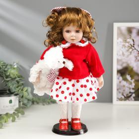 """Кукла коллекционная керамика """"Малышка Аля в красном свитере и юбке в горох, с мишкой""""30,5 см"""