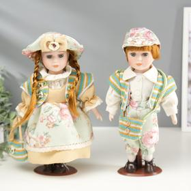 """Collectible doll couple set of 2 PCs """"Valya and Vitya in floral outfits"""" 30 cm"""