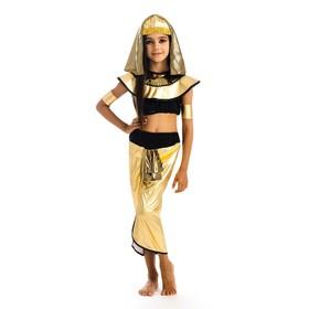 Карнавальный костюм «Клеопатра», головной убор, топик, штаны, нарукавники, р. 30, рост 122 см