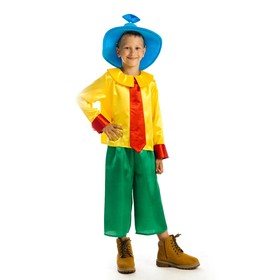 """Карнавальный костюм """"Незнайка"""", рубашка, брюки, колпак, р-р 34, рост 134 см, 7-9 лет"""