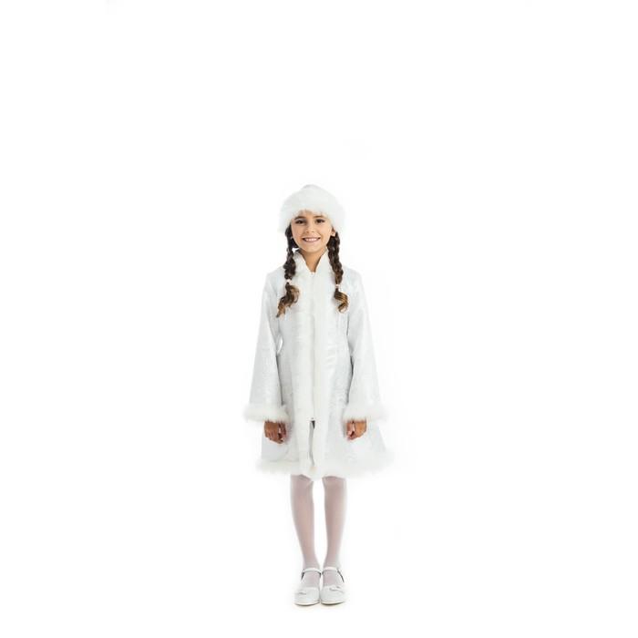 Детский карнавальный костюм «Снегурочка», парча белая, шуба, шапка, р. 34, рост 134 см