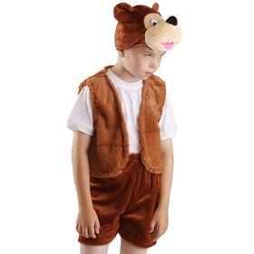 Карнавальный костюм «Бурый медвежонок», жилет, шорты, маска-шапочка, р. 30-32, рост 122 см