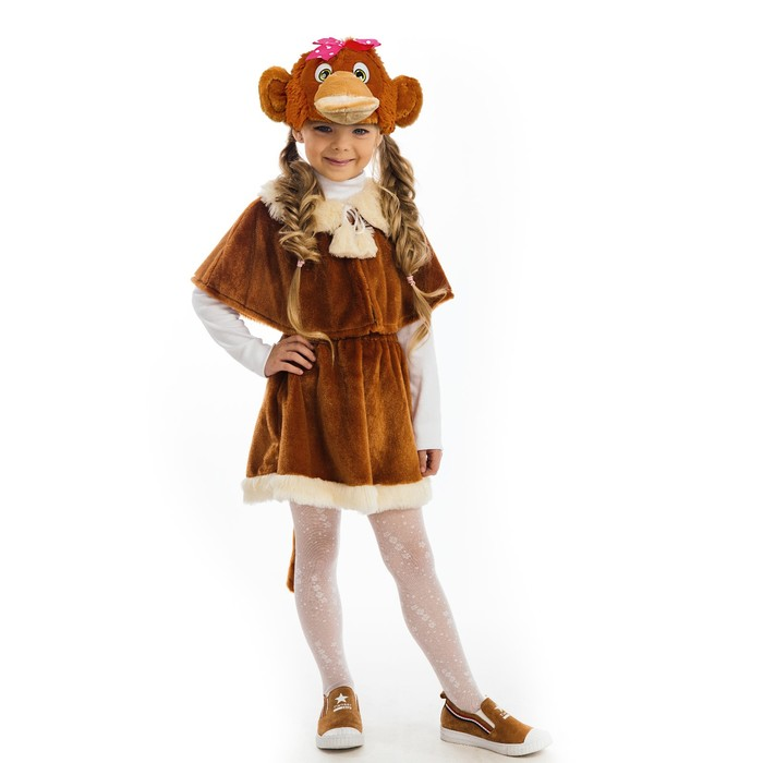 Карнавальный костюм «Обезьянка девочка», пелерина, юбка, маска-шапочка, рост 122 см - фото 106529573