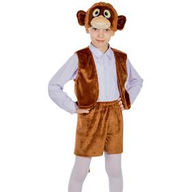 Карнавальный костюм «Обезьянка мальчик», жилетка, шорты, маска-шапочка, рост 122-128 см