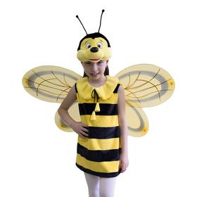 Карнавальный костюм «Пчёлка», платье, маска-шапочка, рост 122-128 см