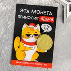 """Card with chocolate coin """"Brings good luck"""""""