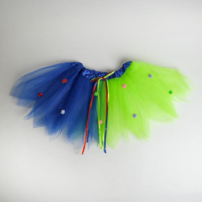 Карнавальная юбка «Праздник», двухслойная, цвет зелёно-синий - фото 452240