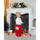 """Штанишки Крошка Я """"Санта"""", рост 62-68 см, красный - фото 105910626"""