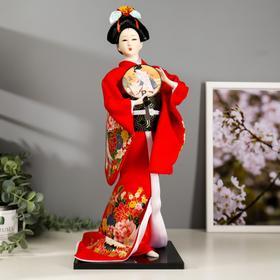 """Кукла коллекционная """"Гейша в красном кимоно с опахалом"""" 42х16,5х16,5 см"""