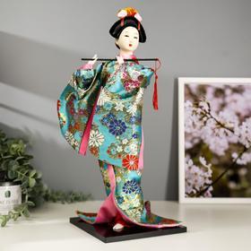 """Кукла коллекционная """"Гейша в бирюзовом кимоно с цветами"""" 42х16,5х16,5 см"""