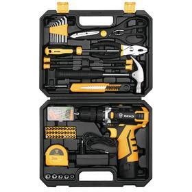 Дрель-шуруповерт DEKO DKCD12FU-Li и набор инструментов DEKO, 12 В, 1 Li-lon, 104 предмета