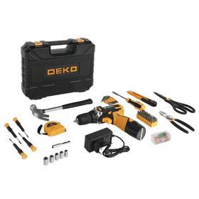 Дрель-шуруповерт DEKO DKCD12FU-Li и набор инструментов DEKO, 12 В, 2 А*ч, 104 предмета