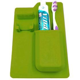 Органайзер для бритвы и зубной пасты силиконовый, цвет зеленый