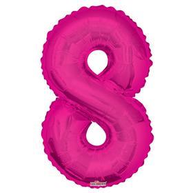 """Шар фольгированный 34"""" цифра """"8"""" розовая"""