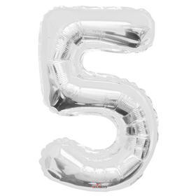 """Шар фольгированный 34"""" цифра """"5"""" серебро"""