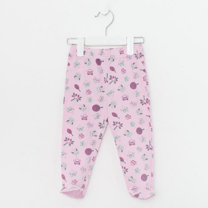 Ползунки детские, цвет розовый/сова, рост 74 см - фото 2030325