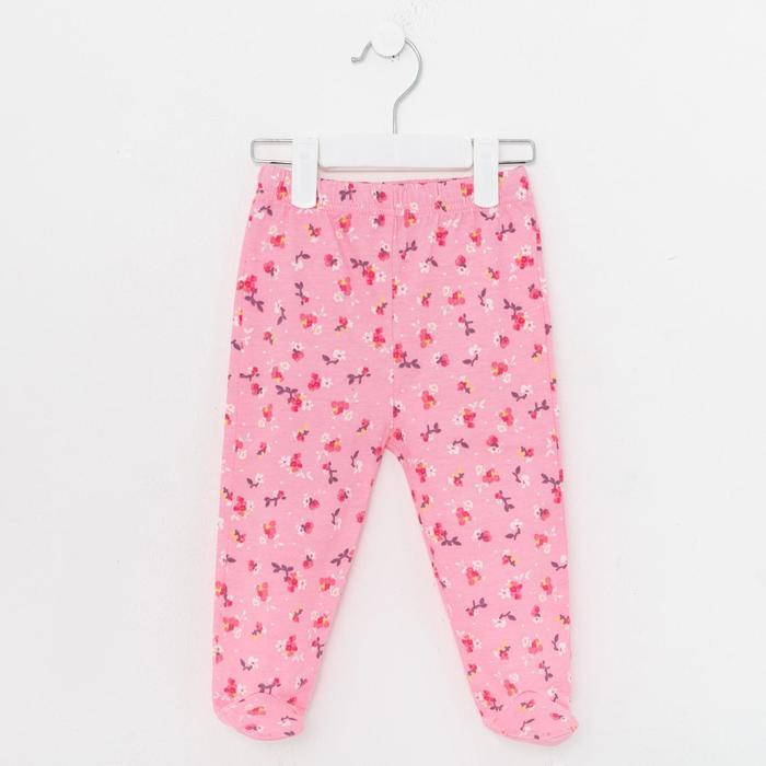 Ползунки детские, цвет розовый/цветы, рост 62 см - фото 2030331