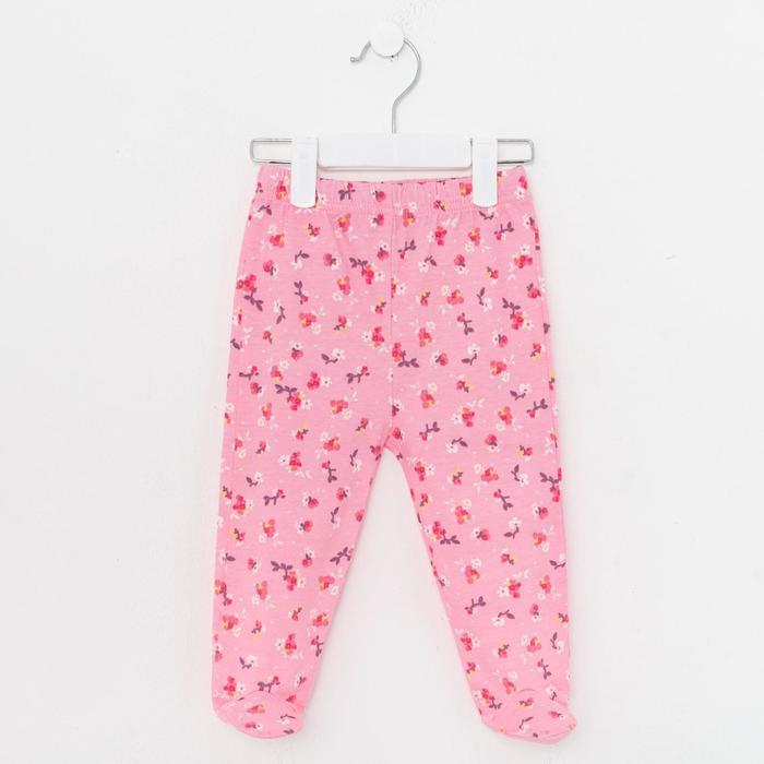 Ползунки детские, цвет розовый/цветы, рост 80 см - фото 2030340