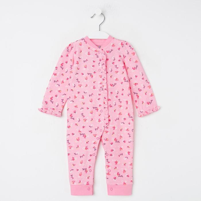 Комбинезон детский, цвет розовый/цветы, рост 62 см - фото 1957681