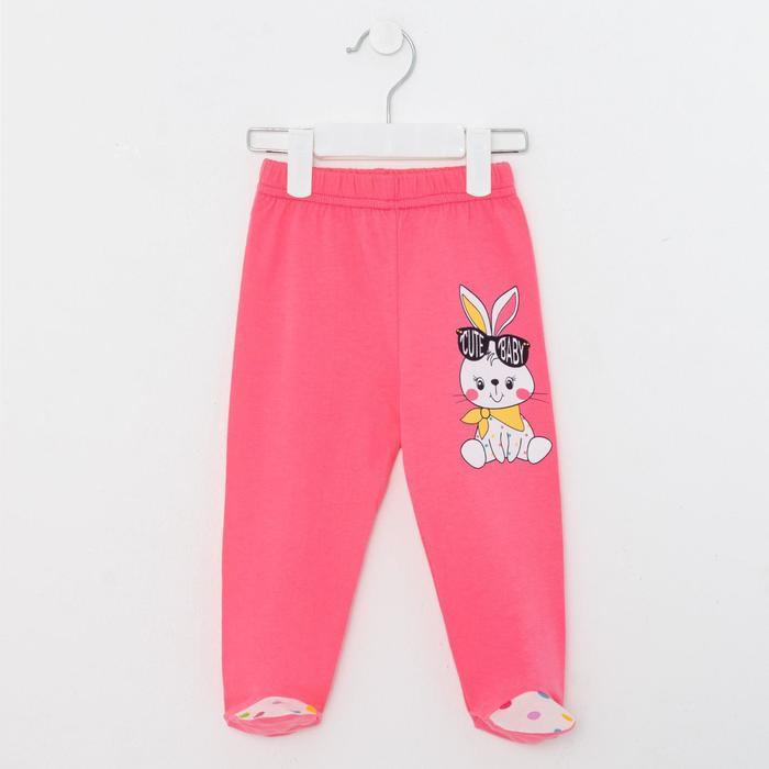 Ползунки детские, цвет розовый/зайчик, рост 68 см - фото 105713848