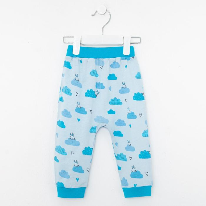 Штанишки детские, цвет голубой/зайчик, рост 62 см - фото 76471203