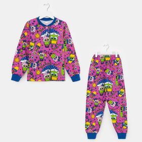 Пижама для девочки, цвет лиловый, рост 122 см
