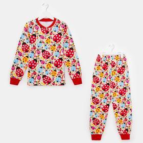 Пижама для девочки, цвет бежевый, рост 122 см