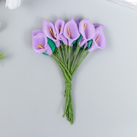 """Цветы для декорирования """"Фиолетовые каллы"""" 1 букет=12 цветов 16х9 см"""