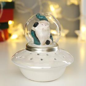 "Сувенир керамика свет ""Дед Мороз в зелёном наряде на космическом корабле"" 12х11х11 см"