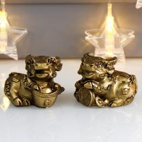 "Souvenir Polyresin ""Bull coin/ingot"" set 2 PCs 4,2x6,2x4,6 cm"