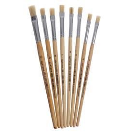 Набор кистей щетина плоские 8 штук (№3,4,5,6,7,8,9,10) с деревянными ручками