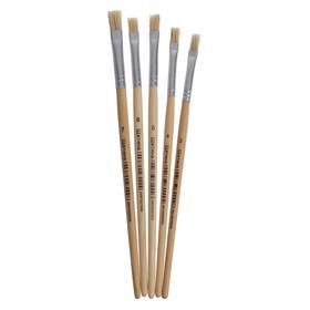 Набор кистей щетина плоские 5 штук (№3,4,5,6,7) с деревянными ручками