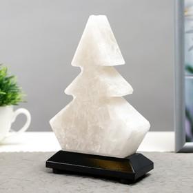 """Соляной светильник  """"Елка"""" LED (диод цветной) USB белая соль 10х7х13 см"""