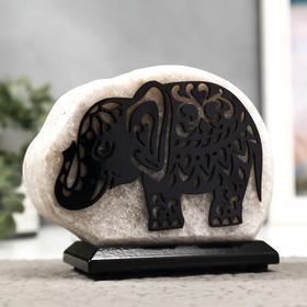 """Соляной светильник с диммером  """"Слон малый"""" Е14 15Вт 2-3 кг белая соль 18х8х16 см"""